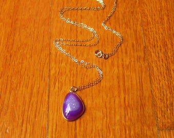 Amethyst Necklace, 14k Gold Filled, Druzy Necklace, Bezel Necklace, Amethyst Pendant, Charm Pendant, February Birthstone, Gift For Her