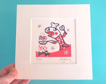 Limited edition handmade relief print, signed by Mike Levy small 'Fishfry'