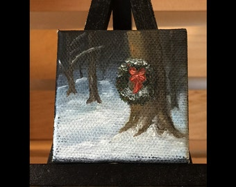 Christmas Wreath in the Woods - Miniature Oil Painting