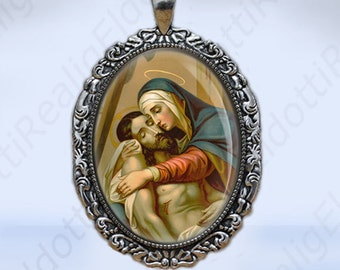 Sorrowful Mother / Our Lady of Sorrows Catholic Christian Virgin Mary Medal Silvertone Pendant Charm for Necklace