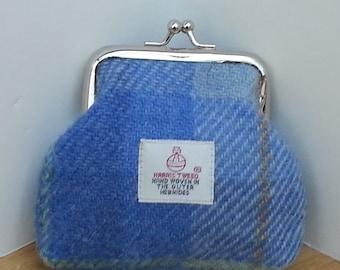 Harris Tweed Coin Purse / Handmade / Light Blue Check