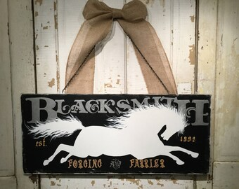 Blacksmith sign farrier sign FrenchVelvetHorses sign horse wood sign equine farm sign  livery sign large sign animal horse pony silhouette