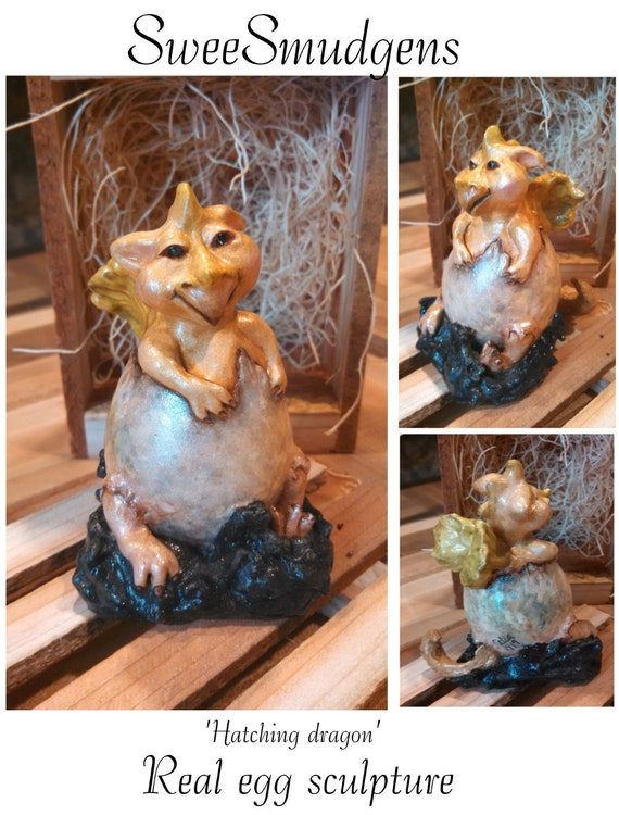 Miniature hatching golden dragon fairy tale creatures baby dragon totem whimsical figurines real egg story book sculpture collector original