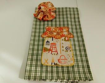 Tea Towel Set - Canning Jar with Jar Lid Cover - Garden Decor Hand Towel - Garden Tools Fabric - Mason Jar Decor - Dish Towels - Item #356