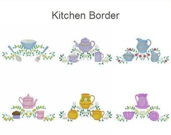 Kitchen Border Machine Embroidery Designs Instant Download 4x4 5x5 6x6 hoop 10 designs APE2496