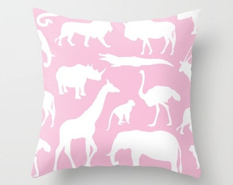 Safari Animals Pillow Cover - African Animals Pillow Cover - Safari Decor - Pink Pillow Cover - Girl Bedroom Decor - Accent Pillow