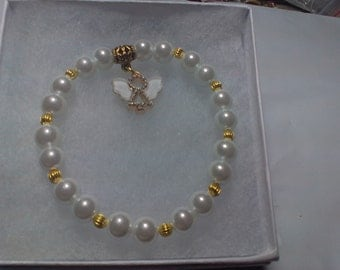 White Pearl Bracelet with Angel Charm