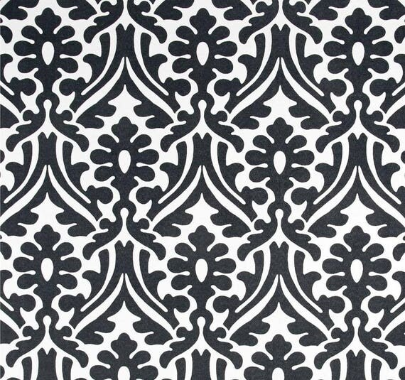 Black & White Indoor Outdoor Fabric by the Yard Designer Damask ...