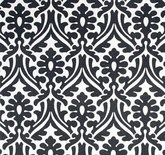 Black White Indoor Outdoor Fabric By The Yard Designer Damask Print Home Decor Fabric Curtain Fabric Cushions Upholstery Fabric C522
