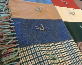 Multicolored Rustic Hand Tied Throw or Tablecloth 70x48