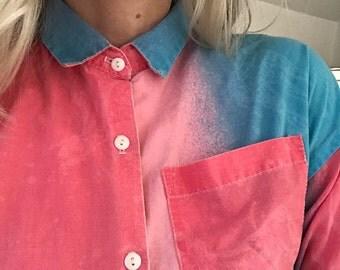 Vintage 1980s Ombre Cropped Cotton Blouse