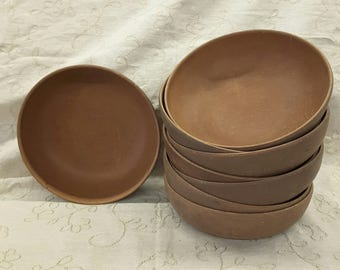 8 Ellinger's Agatized Wood Salad Bowls #60 Vintage 1970s