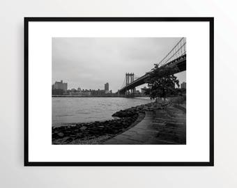 New York City Photography Print NYC Black and White B&W NY Street Art Urban Monochrome Brooklyn DUMBO Manhattan Bridge Ocean