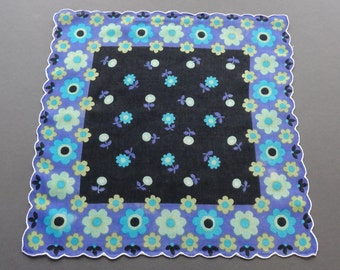 Blue Flower Power - Vintage Cotton Hankie with Scalloped Edge