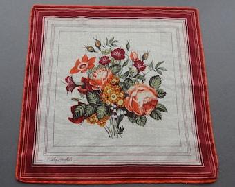 Swiss Fisba Stoffels Vintage Floral Cotton Hankie Handkerchief