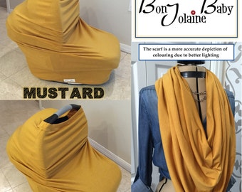 Stretchy Car Seat/Nursing Cover - 4 in one Multi purpose Baby cover (Mustard)