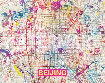 Beijing Map - Original Art Print - City Street Map of Beijing, China - Poster Watercolor Illustration Wall Art Home Decor Gift