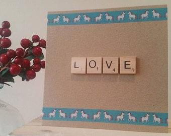 Unicorn Card - Boyfriend Birthday Card - Girlfriend Birthday Card - Anniversary Card - Scrable Tiles - Husband LOVE Card - Unique Handmade