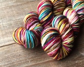 ELECTRIC ROSE B American Sock, yarn, superwash merino, American made, knitting, sock yarn, wool