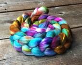 MERMAID polwarth and silk, roving, handpainted, hand dyed, top, Polwarth,  Luminosity Project, OOAK, silk