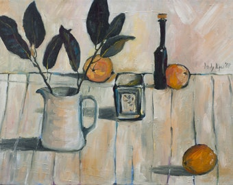 "Still life with Oranges - ORIGINAL OIL PAINTING - Oil on Canvas, Home Decor, Living Room Wall Decor, Wall Hanging Art 18""x24"""
