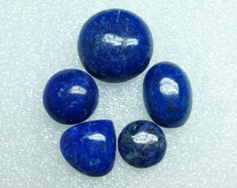 50% OFF - Lapis Cabochon Gemstone 13x13 To 21x21 mm 79.45 Cts 5 Pieces Lot  (I-121)