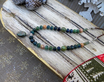 Blue and Green Czech Glass Beaded Necklace