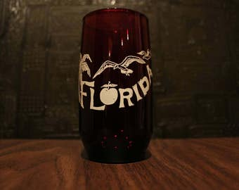 Ruby Red Florida State Souvenir Glass Tumbler