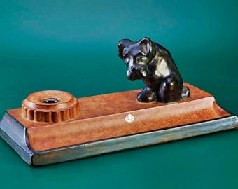 30s ceramic desk set with dog