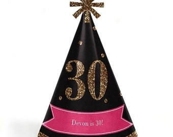 Chic 30th Birthday - Pink, Black, and Gold Party Hats - Adult Cone Personalized Birthday Party Supplies - Set of 8