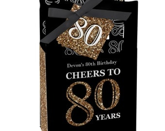 80th Birthday Party Favors for Birthday Parties - Favor Boxes - Adult 80th Birthday - Gold Party Supplies - Set of 12