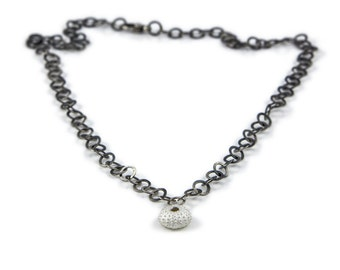 Sea Urchin Necklace, shell necklace, silver necklace, handmade necklace,bespoke necklace, statement necklace, chain necklace, oxidised.