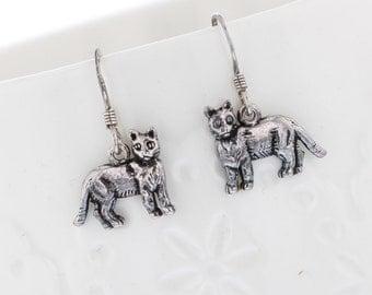 Silver Cat stamped sterling silver earrings. Dangle, drop earrings. Sterling ear wires. Animal Earrings, Cat Earrings
