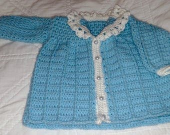 Turquoise and White Crocheted Delicate Infant Jacket, Crocheted Baby Jacket, Light Jacket Sweater