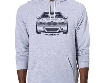 BMW E46 M3 CSL Graphic printed on Men's American Apparel Pullover Hoodie
