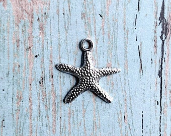 10 Starfish charms antique silver tone (1 sided) - starfish pendants, ocean charms, sea life charms, beach charms, seashell charms, A14