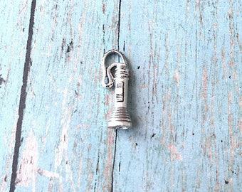 Flashlight charm 3D pewter (1 pc) - silver flashlight pendant, camp counselor charm, flashlight pendant, camping pendant, camper charm, UU8