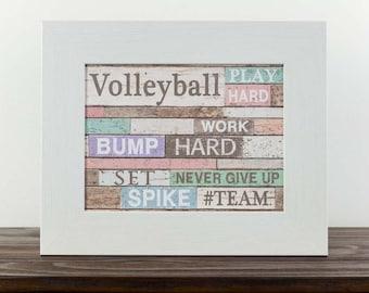 """Volleyball Pass Team Sport Bump Set Spike Girl Decor Bedroom Picture Art 13x16"""""""