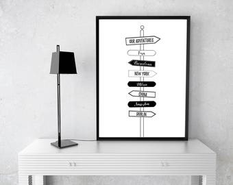 Travel Sign Post Destination Print