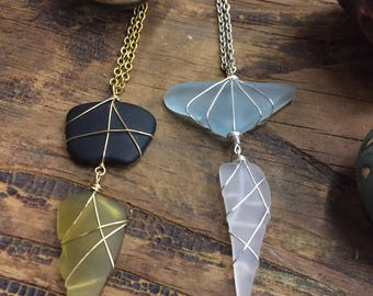 Recycled Glass Double Pane Necklaces!