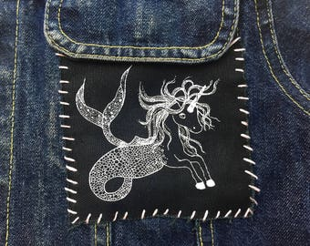 Unicorn Patch, Unicorn Mermaid Screen Printed Patch, Mermaid Unicorn Sew on Patch, Unicorn Mermaid Canvas Patch, Unicorn Patch for Jackets