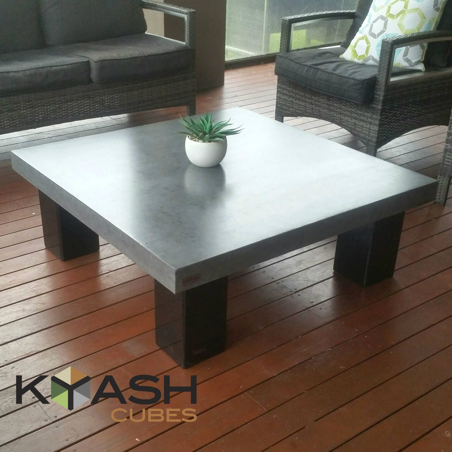 Polished Concrete Square Coffee Table Steel 4 Post Base 1m X