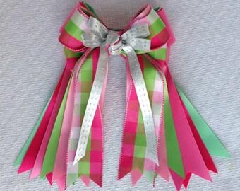 Equestrian Hair Bows/Beautiful Pink Green Silver Plaid/Bowdangles Horse Show Bows