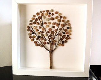 Image of pebbles - Pebble art - tree, framed 25 x 25 cm, nature collage, collage of stone, tree of life,.