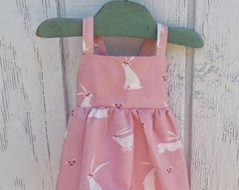 Pink Bunny Baby Dress, Baby Girl Dress, Pink Baby Dress, Baby Bunny Dress, Toddler Bunny Dress