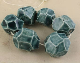 "Set of 6 handmade faceted ceramic glazed art beads unique ""blue gems"""