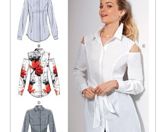 McCall's Pattern M7546 Misses' Shirts with Optional Attached Sash