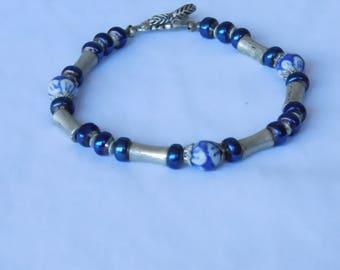 Beadwork bracelet blue and silver woman's bracelet