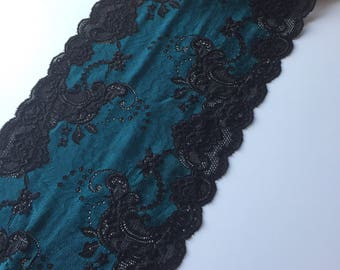"""TURQUOISE & BLACK Floral Stretch Lace 9"""" Wide Bra Lace, Underwear Lace, Galloon Lace, Lingerie Lace, Headband Lace, Hem Lace BTY By The Yard"""