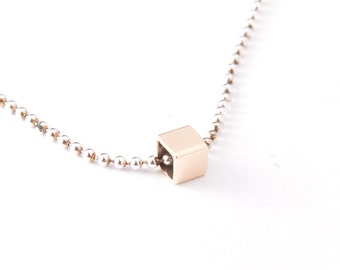 CUBE SLIDE NECKLACE - 14K Yellow Gold - Square Cube Initial Pendant Slide